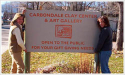 new sign for Carbondale Clay Center